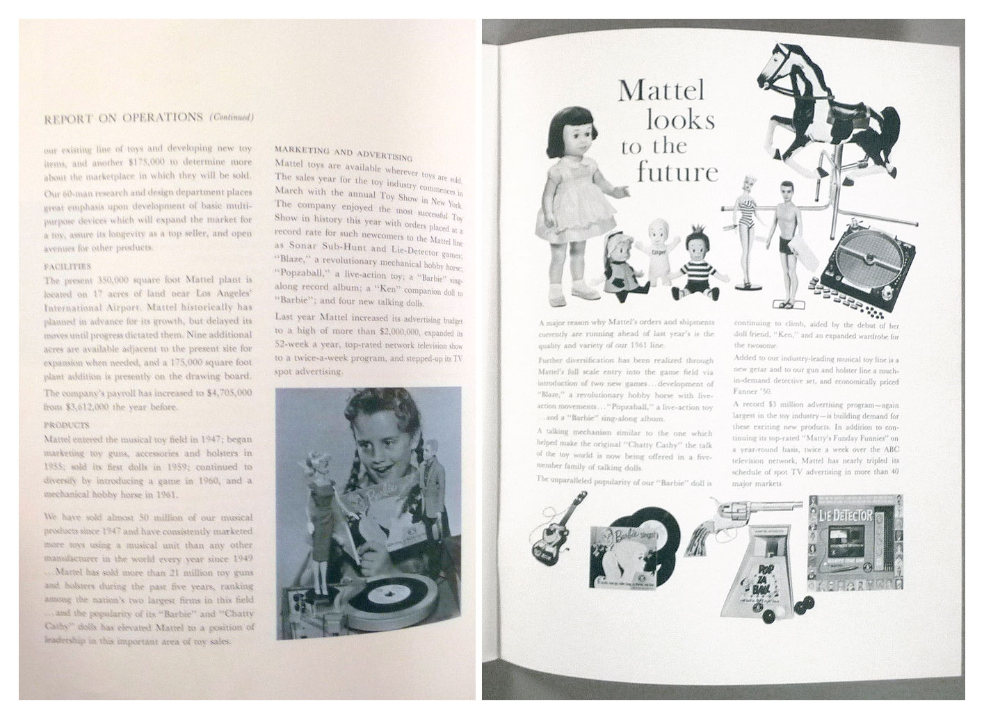 From Mattel Annual Report February 1961