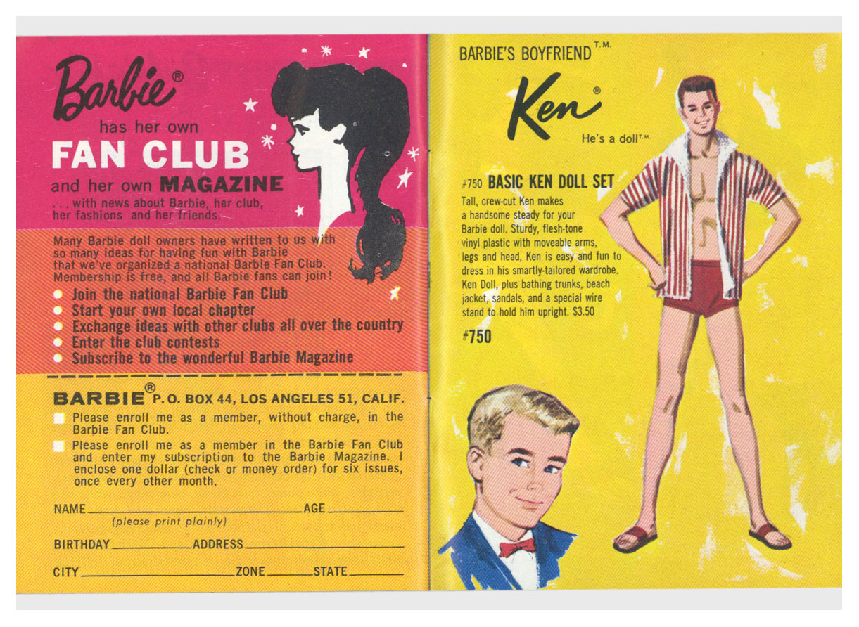 From 1963 Barbie Ken yellow booklet