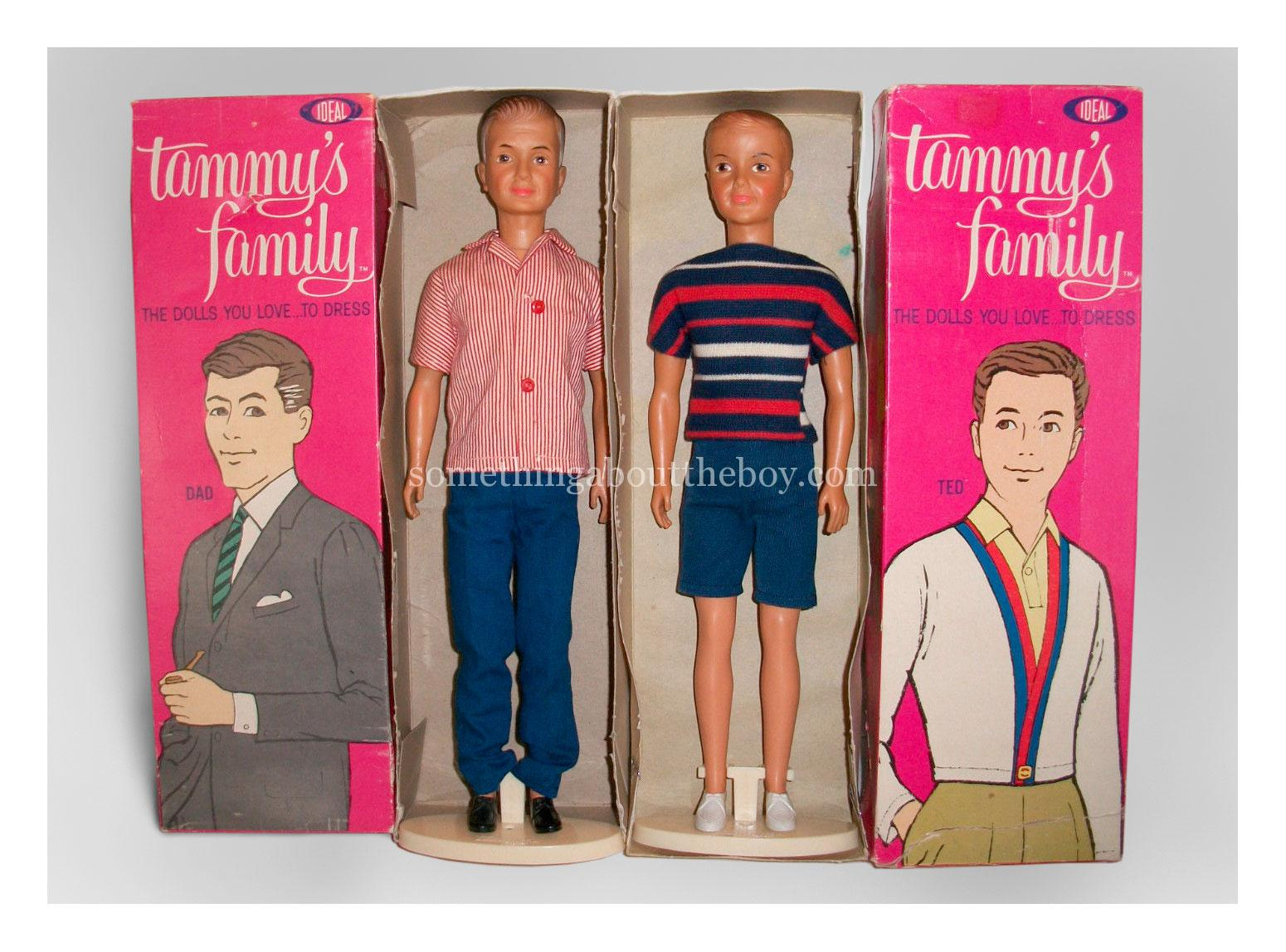 Tammy's Family Dad and Ted dolls in original packaging