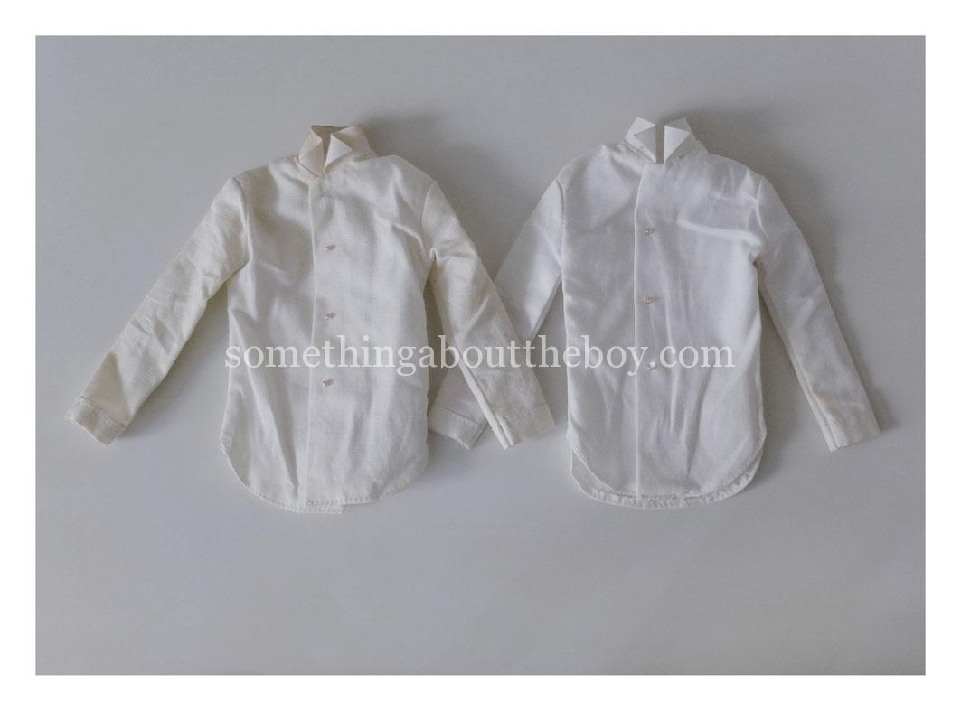 Here Comes The Groom shirts with silver (left) and clear buttons