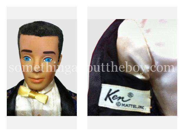 1964 Japanese exclusive Dressed Doll Ken in rare brocade tuxedo with yellow bow tie