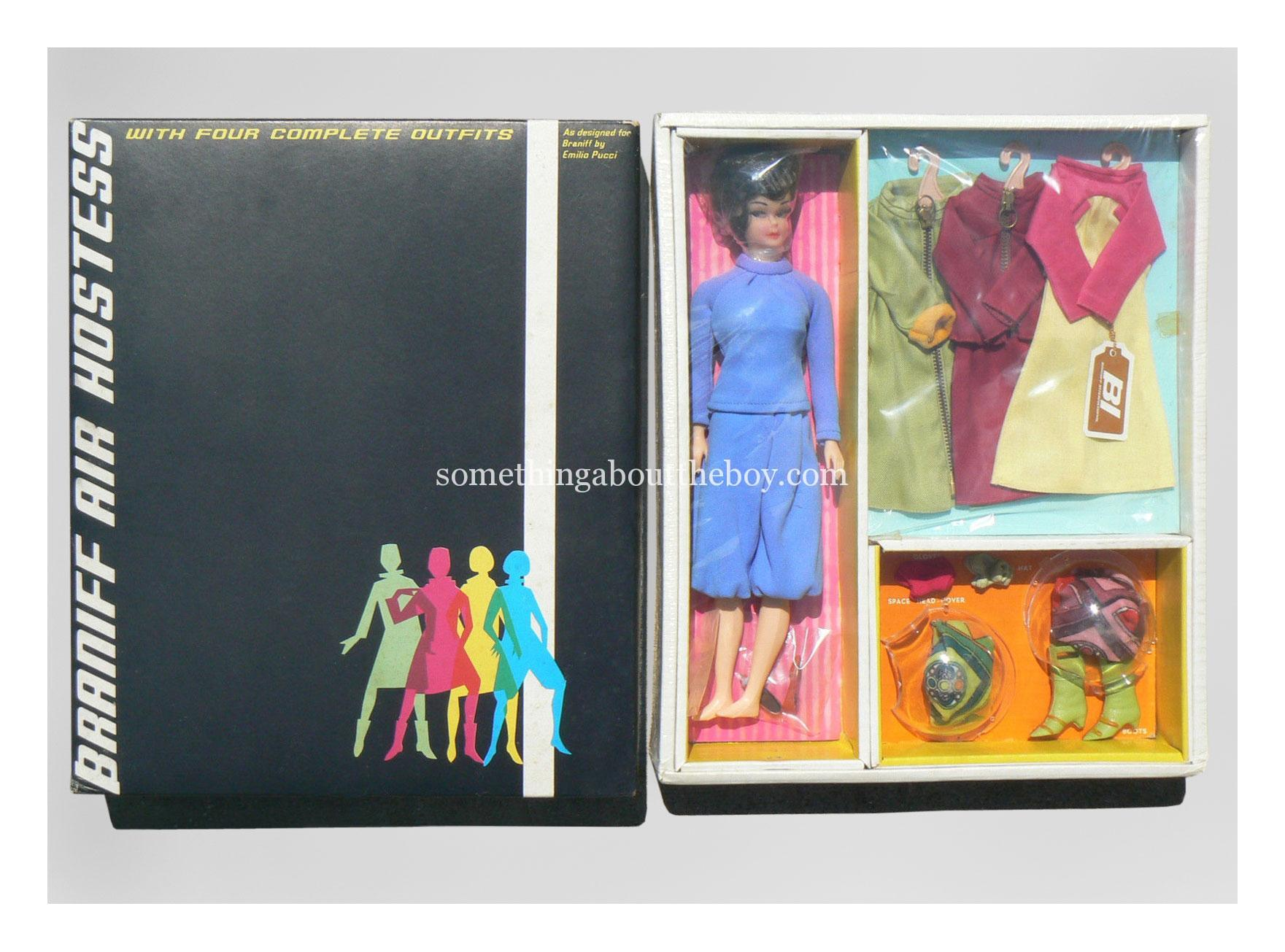 1967 Braniff Air Hostess box set with four complete outfits by Marx Toys