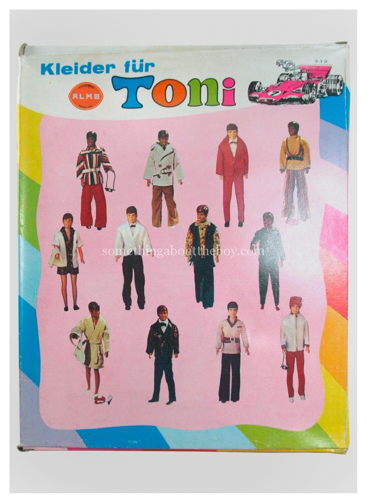Reverse of Toni outfit packaging