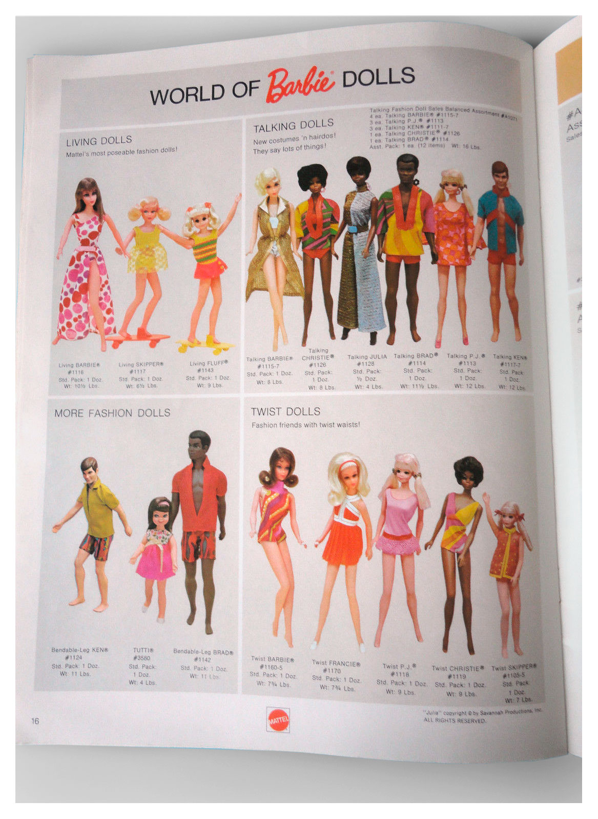 Mattel Dolls '71 catalogue