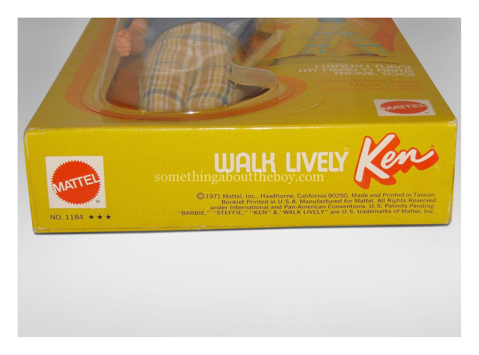 1972 #1184 Walk Lively Ken original packaging (Detail)