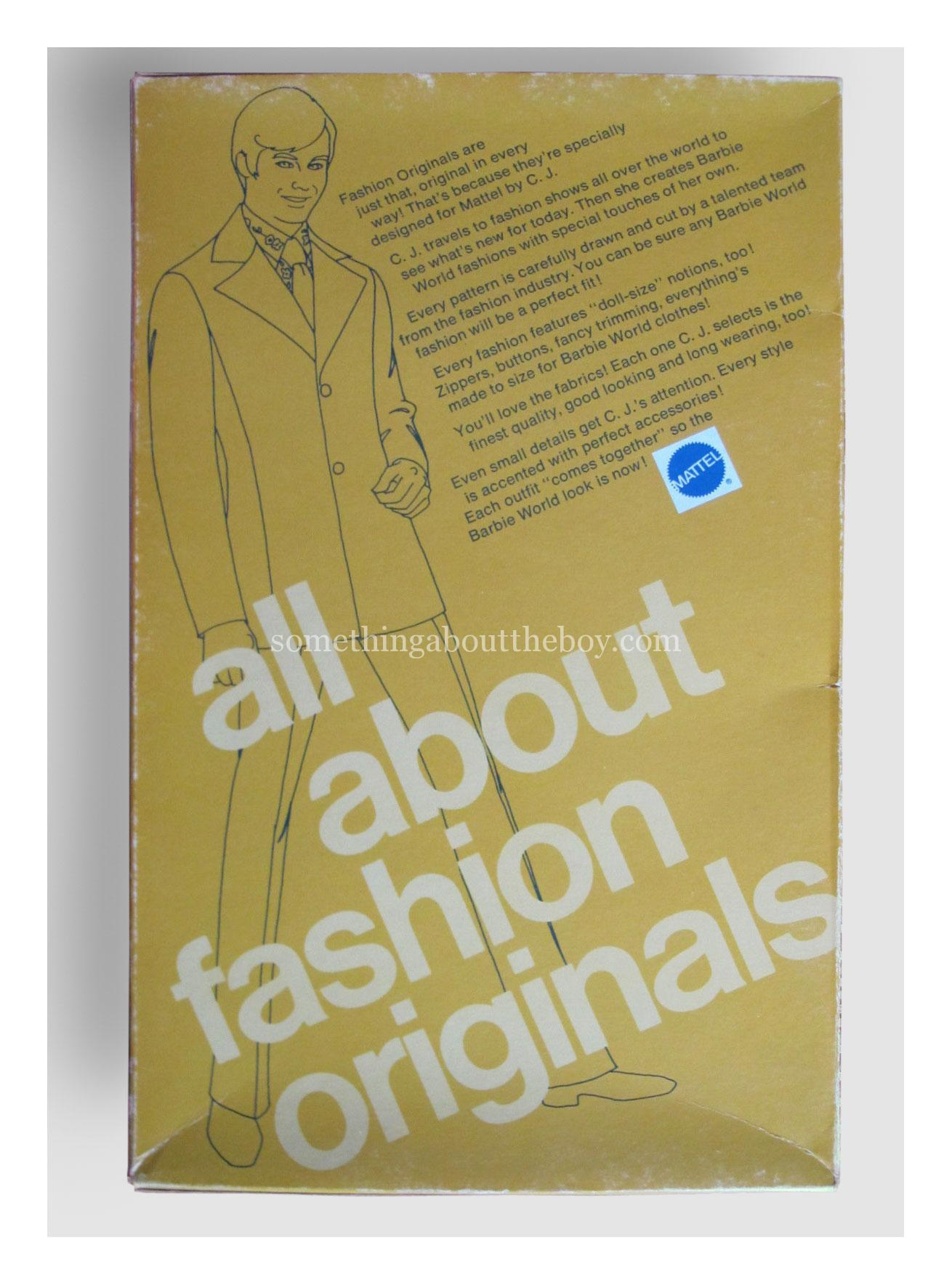 Reverse of Fashion Originals packaging 1974