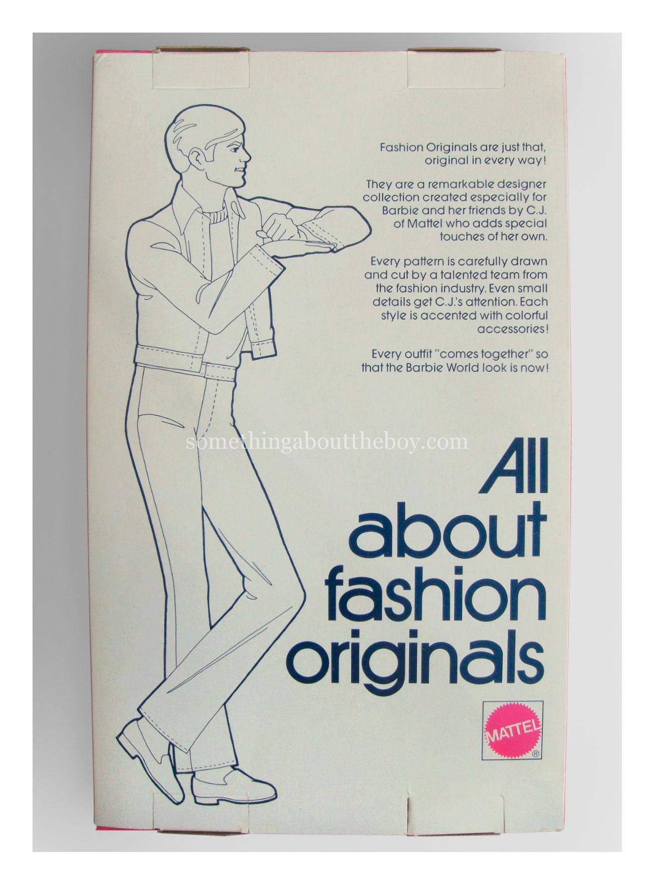 Reverse of Fashion Originals packaging 1976 (pink box)