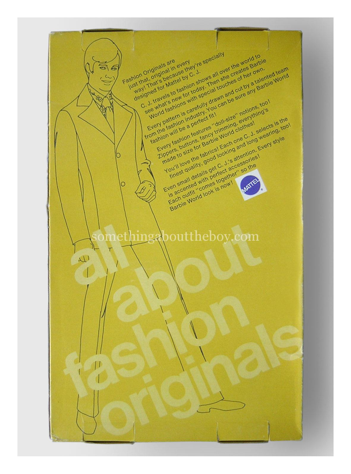 Reverse of Fashion Originals packaging 1975 (Yellow box)